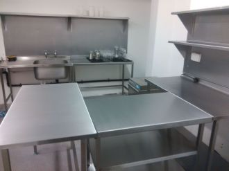 Stainless Steel Wall Benches and Tables for Hygienic Food Preparation